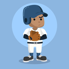 African baseball player with glove– stock illustration
