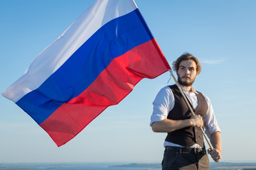 Russian man with Russian Federation flag