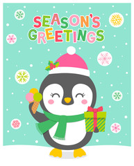 Cute penguin cartoon for christmas and new year card design