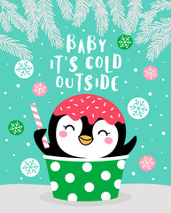 Cute penguin cartoon with snow background for card design template
