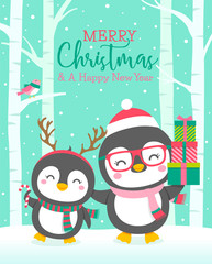 Cute mother and child penguins illustration with tree and snow fall background