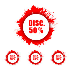 Discount Sign with Ink Splash Grunge Style