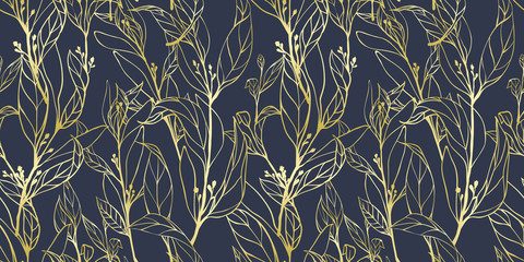 Seamless pattern, hand drawn golden leaves with small flowers on dark blue background