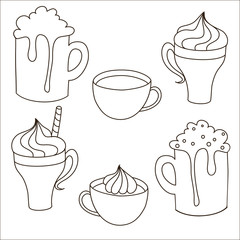 A set of contours of the hand drawn sweet drinks