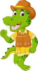 cute crocodile cartoon dancing with laughing and waving