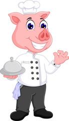 cue pig chef cartoon standing with brig delicious food