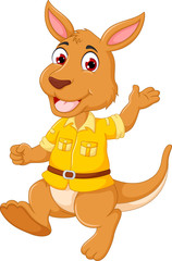 cute kangaroo cartoon walking with smile and waving
