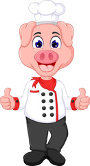 cute pig chef cartoon standing with smile and thumb up