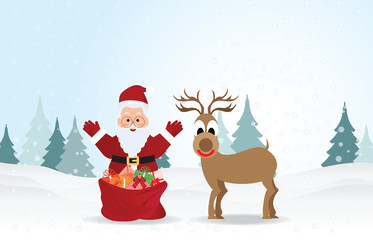Christmas Background with Santa claus and reindeer .