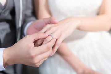 Wedding ceremony. The bride and groom exchange wedding rings.
