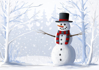 Snowman in a snow-covered forest. Winter illustration. Christmas and winter holidays.