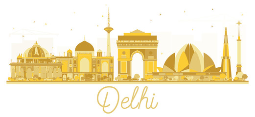 Delhi India City skyline golden silhouette.