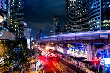 The beautiful landscape of Bangkok at night, full of light and busy traffic. long exposure
