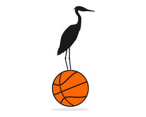 stork basketball illustration vector