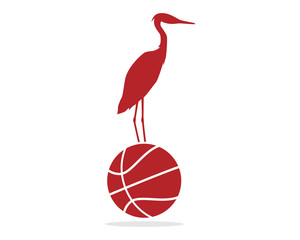 red stork basketball illustration vector