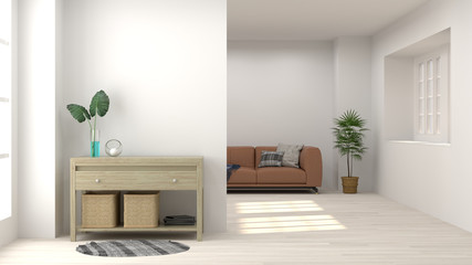 cabinet in living room interior background,3D rendering and sofa  on empty wall and ornamental trees