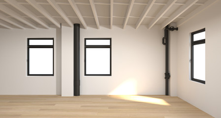 the empty room3D rendering White room,interior background
