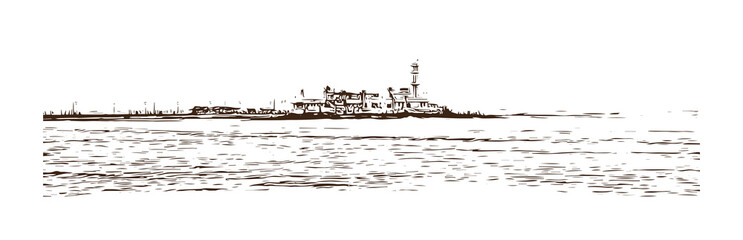 Hand drawn sketch of Haji Ali Mumbai, Inda in vector illustration.