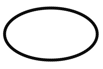 Oval Frame from Black rope for Your Element Design, Isolated on White