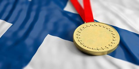 Gold medal on Finland flag. Horizontal, full frame closeup view. 3d illustration