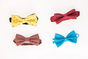 Collection set of colorful ribbon bows on a white background