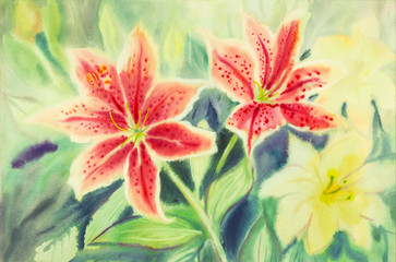 watercolor painting with Lilly flowers.