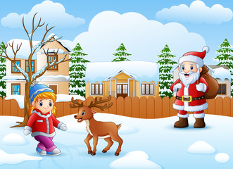 Cartoon santa claus cartoon and little girl in the snowing village with deer