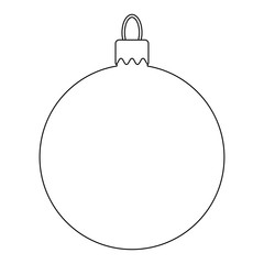 Simple Bauble outline for christmas tree isolated on white background