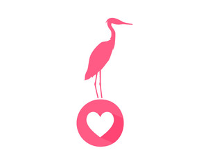 heart stork pink