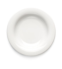 White dessert plate on a white background. View from above. Isolated..