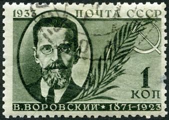USSR - 1933: shows Vatslav Vatslavovich Vorovsky (1871-1923), Russian revolutionary and marxist