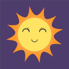 Sunny happy emoji weather icon - simple vector illustration