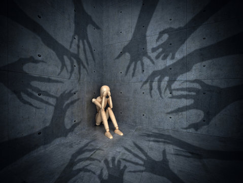 The concept of various phobias and depression. The shadows of the hands pursue a wooden puppet. 3d illustration
