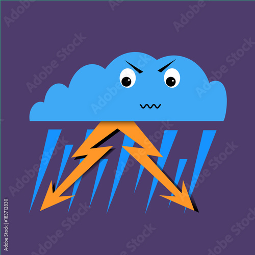 Thunderstorm - Angry emoji weather icon - simple vector