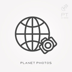 Line icon planet photos