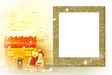Kids photo frame Christmas greeting card
