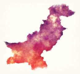 Pakistan watercolor map in front of a white background