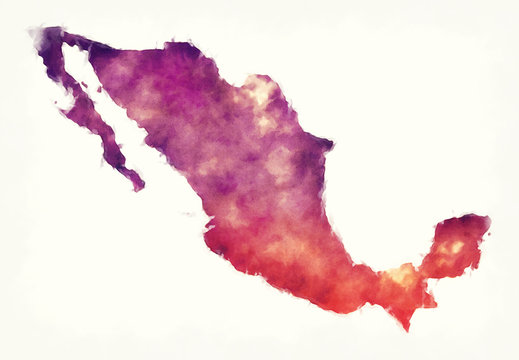 Mexico watercolor map in front of a white background