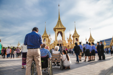 People who visit in Royal Crematorium for the Royal Cremation of His Majesty King Bhumibol Adulyadej Bangkok Thailand