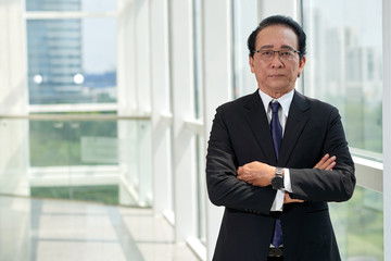 Confident aged businessman
