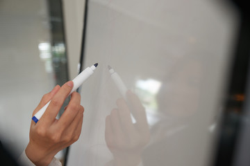 Drawing on glass wall