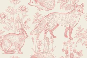 Bezszwowy wzór z zwierzętami i kwiatami. - 183718210