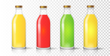 Glass juice bottle. Colored realistic packaging set vector