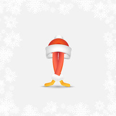 Festive Santa Ballet dancer. Abstract cartoon character for Christmas and new year in a red hat