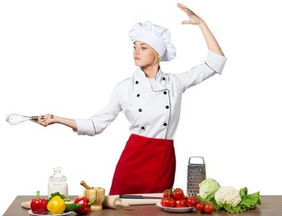 Female Chef Cooking Isolated