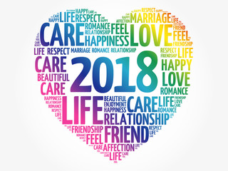 2018 Love and Happy concept, heart word cloud collage background