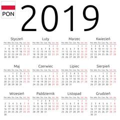 Calendar 2019, Polish, Monday