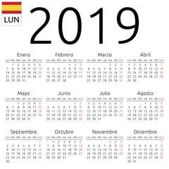 Calendar 2019, Spanish, Monday