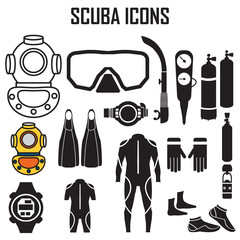 scuba diving icons set vector, symbol mono simple pictogram