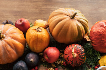 composition of various fruits and vegetables as holiday table decor
